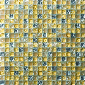 Silver and Gold Cracked Tile Glass Mosaic (HGM347) pictures & photos
