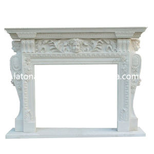 ODM Design Natural White Stone Carved Fireplace with Sculpture pictures & photos