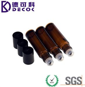 10ml Brown Amber Glass Essential Oil Roller Bottles with Stainless Steel Roller Balls for Perfumes and Lip Balms, Glass Roller Bottles pictures & photos