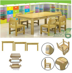 Solid Pine Wood Student Table & Chair (BE-001)