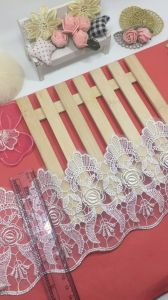New Design 12cm Width Polyester Embroidery Trimming Net Lace Mesh Lace for Garments & Home Textiles & Curtains pictures & photos
