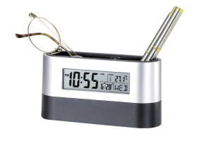 9 Kinds of Music Alarm Digital Table Clock with Penholder and Birthday Reminder pictures & photos