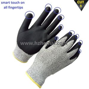 Hppe Fiber Cut Resistant Gloves Smart Touch Work Glove pictures & photos
