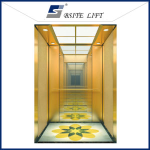 Passenger Lift with Golden Mirror Etching Decoration