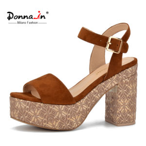 Lady Casual Microfiber Women Weave Platform High Heels Sandals