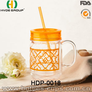 BPA Free Plastic Mason Jar with PVC Paper Insert (HDP-0018) pictures & photos