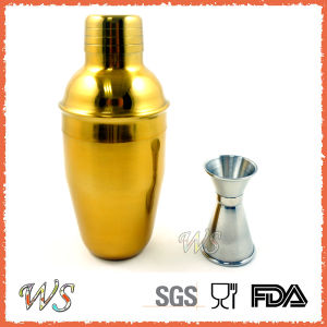 Ws-CS03 350ml Stainless Steel Cocktail Shaker with Gold Electroplating pictures & photos