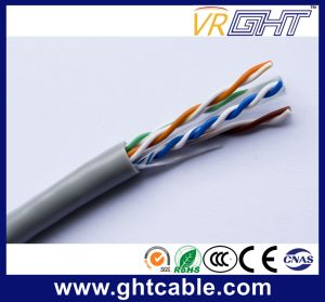 4X0.52mmcca, 0.9mmpe, Cross, 6.0mm Grey PVC China Indoor UTP CAT6 Cable pictures & photos