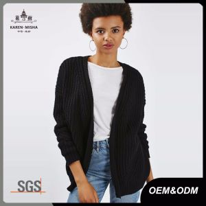 Black Oversized Womens Cotton Open Knit Cardigan Sweater pictures & photos