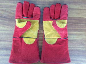 China 14 Inches Cow Split Leather Welding Work Gloves with Reinforced Full Palm Ab Grade pictures & photos