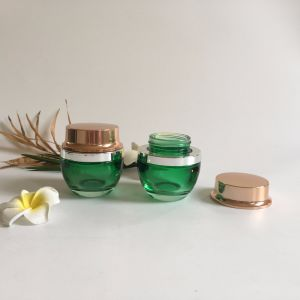30g Transparent Green Glass Jar with Aluminum Plastic Lid pictures & photos