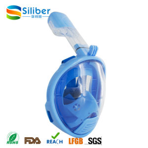 2017 Amazon Hot Selling Silicone Full Face Snorkel Mask for Kids Easy to Breath Diving Mask
