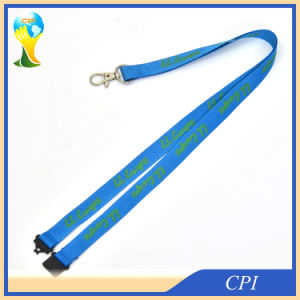 Green Logo Printing on Blue Polyester Lanyard for Sale pictures & photos