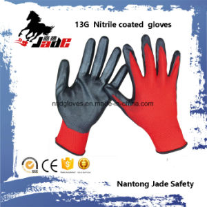 13G Nylon Line Palm Black Nitrile Smooth Coated Glove pictures & photos