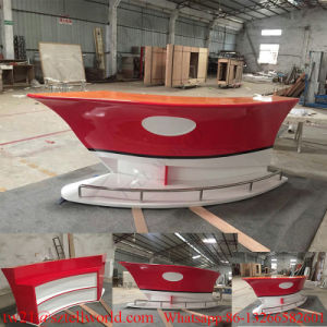 Customized Curved Diamond Shape White Corian Modern Bar Counter in Marble pictures & photos