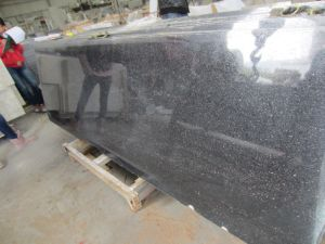 Building Material Cut to Size Natural Black Galaxy Grantie Slab for Countertop, Vanity Top, Sink pictures & photos