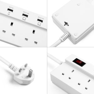 4 Ports Smart USB Power Strip Charger 4 UK AC Outlet Extension Socket Plug pictures & photos