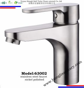 63001 Nickel Polished Stainlesss Steel 304# Basin Faucet pictures & photos