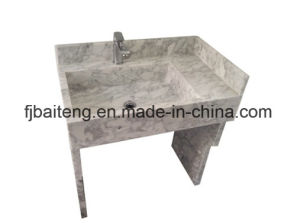 Rectangular Carrara White Marble Pedestal Sink pictures & photos