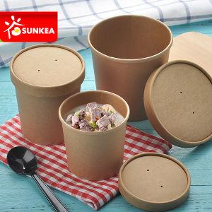 Disposable Short Stout Paper Soup Cup with Paper Lid pictures & photos