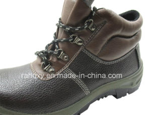 Coffee Embossed Leather Safety Shoe (HQ01010) pictures & photos