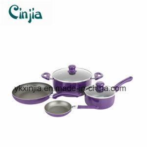 6PCS Purple Aluminum Non-Stick Cookware Set pictures & photos