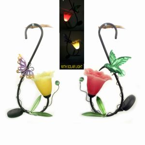 Metal Garden Decoration Solar Light Hanging Lantern with Transparent Flower pictures & photos