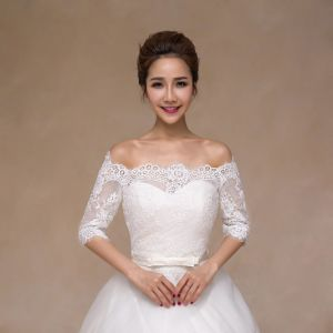 off The Shoulder Long Sleeve Bridal Shawl Wedding Jacket pictures & photos