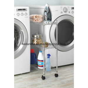 Space Saver 3 Layers Metal Wire Shelf Cart for Laundry Washing Machine Storage Organizer pictures & photos