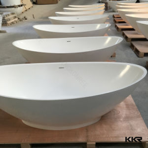 Pure White Acrylic Solid Surface Artificial Stone Bathtub for Adults (171011) pictures & photos