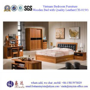Black Color Double Bed Modern Melamine Bedroom Furniture (F15#) pictures & photos