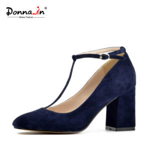 Lady Square-Toe High Heels Pumps T-Strap Suede Leather Women Shoes pictures & photos