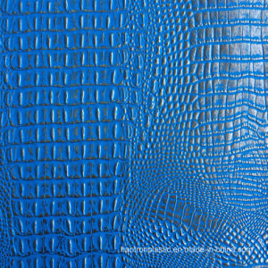 Blue Silver Faux Crocodile Leather pictures & photos