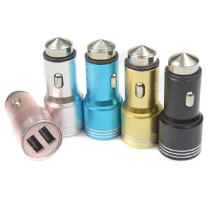 Aluminum Metal Emergency Safety Hammer Bullet Dual USB Car Charger pictures & photos