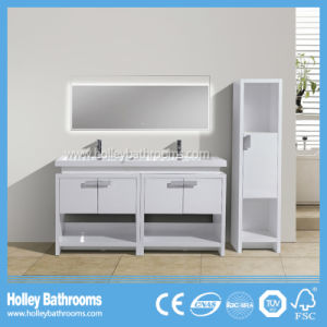 Top Grade Floor Mounted Bathroom Furniture with 2 Basins and Side Cabinet (BF387D)