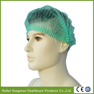 Disposable Non-Woven Pleated Cap, Strip Cap with Green Color pictures & photos