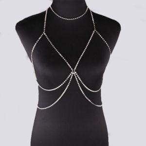 Fashion Designer Full Diamond Rhinestone Crystal Choker Metal Chain Bra Body Jewelry pictures & photos