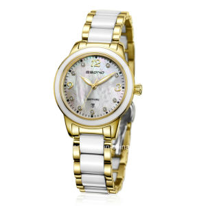 Fashion Diamond Staiinless Steel with Ceramic Grains Ladies Watch pictures & photos