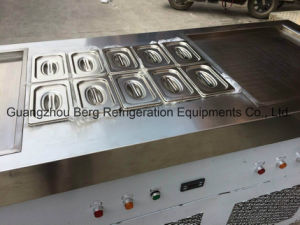 Two Double Flat Pan Fried Ice Cream Roll Machine with 8 Trays pictures & photos