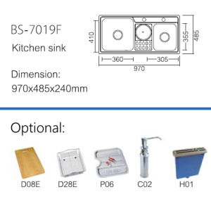Best Price Double Bowl Steel Material Kitchen Sink (BS-7019F) pictures & photos