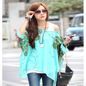 2017 Summer New Design Plus Size Bohemia Women Floral Batwing Chiffon Lager Size Loose Blouse Top Casual Cloths pictures & photos
