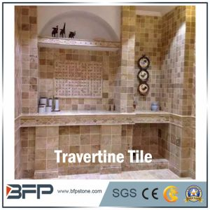 Yellow Travertine Tile for Wall Cladding in Bathroom and Kitchenroom pictures & photos