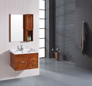 Modern Double Basin Solid Wood Bathroom Furniture Pr-W2011 pictures & photos