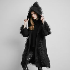 Py-166 Punk Winter Black Large Version Mixed Fabric Fur Long Coat with Big Hooded pictures & photos