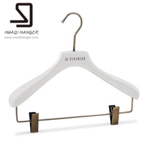 Hangers with Logo, White Hanger, Clothes Hanger with Clips pictures & photos