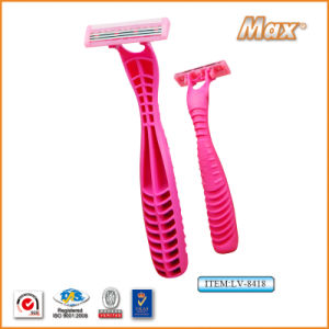 New Triple Stainless Steel Blade Disposable Shaving Razor (LA-8418) pictures & photos