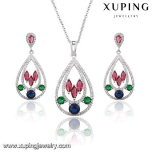 63924 Fashion Elegant Colorful Cubic Zircon Heart-Shaped Wedding Jewelry Set in Rhodium Color pictures & photos