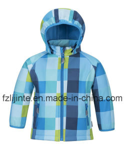 Kids Wear Fashion Hooded Plaid Softshell Jacket pictures & photos