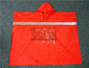 PVC Waterproof Rain Cape with High Reflective Strip pictures & photos