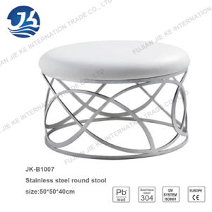 Nordic Style Modern Design Round Stool with 304 Stainless Steel Frame pictures & photos